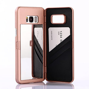 Galaxy S8 Case, Hidden Back Mirror Wallet Case With Stand Feature And Card Holder For Samsung Galaxy