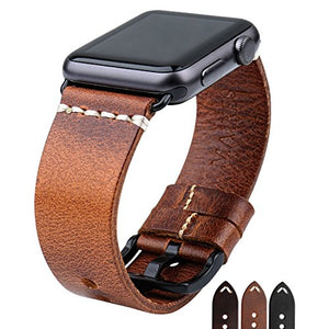 MAIKES Special Leather Apple Watch Strap Changeable Color Watchband for Apple Watch Band 42mm 38mm Series 3 2 1 iWatch Wristband (for Apple Watch 38mm, Light Brown+Black Clasp)