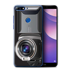 Phone Case for Huawei Y7/Prime/Pro (2018) Camera Video Camcorder Design Transparent Clear Ultra Slim Thin Hard Back Cover