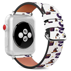 Compatible with Apple Watch - 42mm / 44mm (Serie 6/5/4/3/2/1) Leather Wristband Bracelet with Stainless Steel Clasp and Adapters - Halloween Watercolor Witch