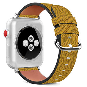 Compatible with Apple Watch - 42mm / 44mm (Serie 6/5/4/3/2/1) Leather Wristband Bracelet with Stainless Steel Clasp and Adapters - Mustard Yellow Polygon