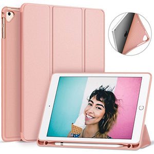 Ztotop Newest iPad 9.7 Inch 2018 Case with Pencil Holder - Lightweight Soft TPU Back Cover and Trifold Stand with Auto Sleep/Wake, Protective for Apple iPad 6th Generation(A1893/A1954), Rose Gold