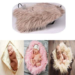 Baby Photo Props Boy Girls Newborn Baby Photography Shoot Wrap Soft Fur Quilt Photographic Mat (Khaki)