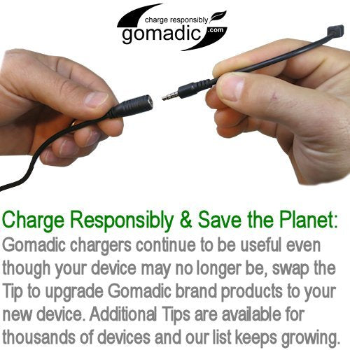 Gomadic Multi Port AC Home Wall Charger designed for the Creative Zen Stone Plus - Uses TipExchange to charge up to two devices at once