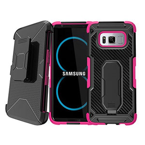 Untouchble Case for [ Samsung Galaxy S8 Plus ] S8+ Pink Case, Extreme Heavy Duty Rugged Protector [Swivel Belt Clip] with [Kickstand] Galaxy S8 Edge Holster Case - Pink