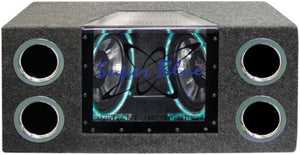 1000W Dual Bandpass Speaker System - Car Audio Subwoofer w/ Neon Accent Lighting, Plexi-Glass Front Window w/ 4 Tuned Ports, Silver Polypropylene Cone & Rubber Edge Suspension - Pyramid BNPS102