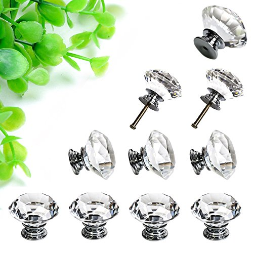 Sumnacon 10 Pcs 40MM Clear Crystal Door Knobs - Diamond Wardrobe Doorknob/ Crystal Drawer Knobs / Cabinet Handle Pulls / Cupboard Handle Knobs / Door Pull Handle with Screws with 3 Kinds Screws