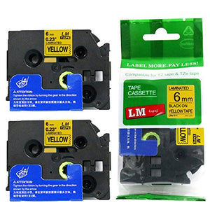 2/Pack - Premium Compatible with Brother TZe-611 Black on Yellow 1/4 p-Touch Label Tape, 6mm Laminated replacment TZe611 Tape, TZ611 0.23