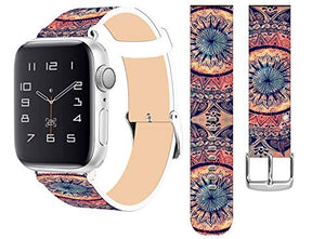 Strap Compatible for Apple Watch Series SE/6/5/4/3/2/1 38mm/40mm - ENDIY Designer Leather Fashionable Band Replacement for Iwatch Wrist Band Ancient Floral Pattern