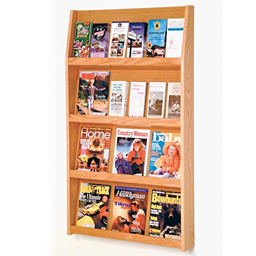 Wooden Mallet 24-Pocket Slope Literature Display, Light Oak