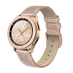 SWEES Genuine Leather Band Compatible for Galaxy Watch 42mm & Gear S2 Classic & Gear Sport, 20mm Leather Bands with Quick Release for Galaxy Watch Active 2 Smart Watch 2019 Women, Glitter Rose Gold