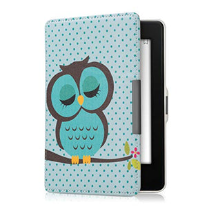 kwmobile Case for Amazon Kindle Paperwhite - Book Style PU Leather Protective e-Reader Cover Folio Case - (for 2017 and Older) Sleeping Owl Turquoise/Brown/Mint