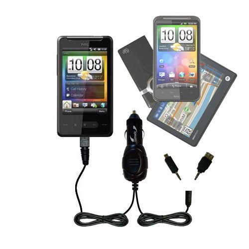 Gomadic Dual DC Vehicle Auto Mini Charger designed for the HTC HD Mini - Uses Gomadic TipExchange to charge multiple devices in your car