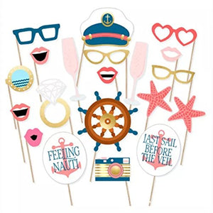 Nautical Photo Booth Props Toshine Cruise Ship Decorations for Party DIY Photo Booth Prop Kits for Birthday Hollywood Wedding Party Supplies Fun Accessories 20 Pcs