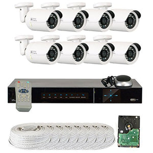 GW Security VD8CH8C250SDI 8-Channel Plug and Play DVR Outdoor Bullet Security Cameras