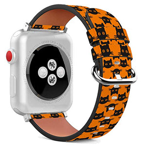Compatible with Apple Watch - 38mm / 40mm (Serie 6/5/4/3/2/1) Leather Wristband Bracelet with Stainless Steel Clasp and Adapters - Black Halloween Cat