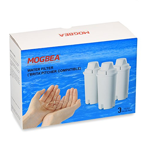 "Mogbea (TM) Pitcher Replacement Filters for ""BRITA"" or similar structure pitchers, 3-Pack Individually sealed / 120 GAL. Capacity of filter exchange / Filter impurities found in tap water"