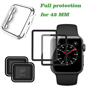 Screen Protector for Apple Watch and Apple iWatch Case for Series 3/2, Full Coverage Watch Tempered Glass Screen Protector (Silver 42mm)