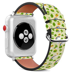 Compatible with Apple Watch - 38mm / 40mm (Serie 6/5/4/3/2/1) Leather Wristband Bracelet with Stainless Steel Clasp and Adapters - Green Rainbow St Patrick's
