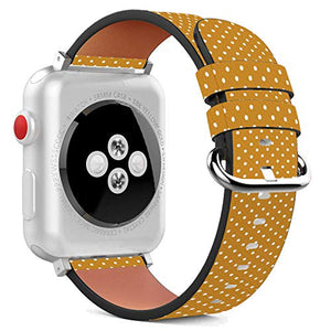 Compatible with Apple Watch - 38mm / 40mm (Serie 5,4,3,2,1) Leather Wristband Bracelet with Stainless Steel Clasp and Adapters - Mustard Yellow Microdot