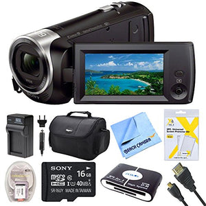 Sony HDR-CX440/B Full HD Video Recording Camcorder with Deluxe Bag, 16GB Micro SD Card, AC/DC Charger, HDMI Cable, Battery Pack