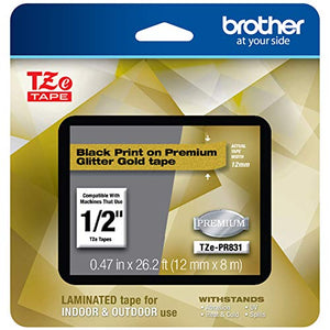 Brother TZEPR831 P-touch TZe-PR831 Black Print on Premium Laminated Tape 12mm (0.47) wide x 8m (26.2) long, Glitter Gold
