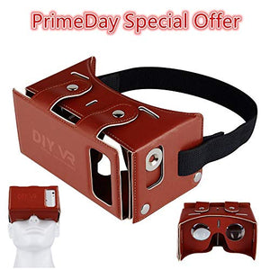 Mini 3D VR Headset Coolzu(TM) Virtual Reality Glasses Compatible with Android & iOS Combination VR for 4.0-5.5 Inch Screen Smartphone Video & Games Experience (Brown)