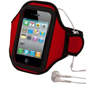 Vangoddy Neoprene Workout Exercise Armband (Black, Red)