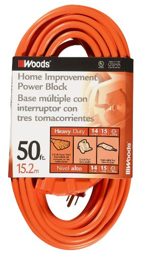 Woods 0826 14/3 Outdoor Multi-Outlet Extension Cord, 50-Foot, Orange