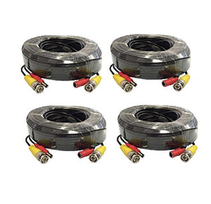 Wennow 4 PACK 100ft security camera bnc video power cable extension for cctv dvr