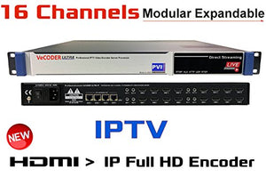 VeCODER HD16 - SIXTEEN CHANNELS H.264 Live HDMI Video Encoder, Full 1080p RTMP IPTV Encoder, Live Stream Broadcast on Smart-TVs, wifi, internet, youtube, rtmp, hls, http, udp, rtsp, Facebook Youtube