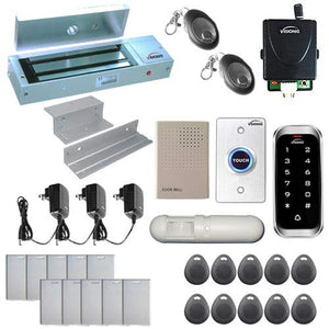 Visionis FPC-5611 One Door Access Control Inswinging Door 1200lbs Maglock with VIS-3003 Slim Outdoor IP68 Keypad/Reader EM MFR Compatible no software 2000 Users Wireless Receiver with PIR Kit