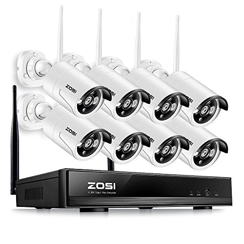 Zosi 8 Ch 1080 P Wireless Security Cameras System,8 Channel 1080 P Wi Fi Video Nvr System,8pcs Weatherpro