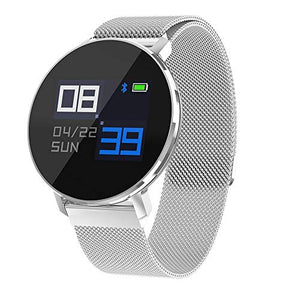 Kyloya Smart Bracelet I67 Waterproof Metal Belt Sports Bluetooth Heart Rate Monitor Pedometer Sleep Monitor Stopwatch SMS Call Notification Remote Camera,White