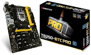 Biostar Motherboard TB250-BTC PRO Core i7/i5/i3 LGA1151 Intel B250 DDR4 Supports 6 AMD and 6 NVIDIA Graphics Cards