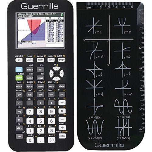 Guerrilla Silicone Case for Texas Instruments TI-84 Plus CE Color Edition  Graphing Calculator With Screen protector and Graphing Ruler, Black