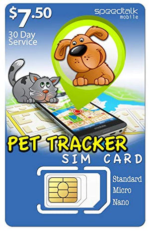 SpeedTalk Mobile $7.50 PET Tracker SiM Card | 3 in 1 - GSM 4G LTE | for Dog/CAT Tracking and Activity Devices