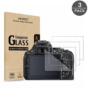 AKWOX (Pack of 3) Tempered Glass Screen Protector for Nikon D5600 D5500 D5300, [0.3mm 2.5D High Definition 9H] Optical LCD Premium Glass Protective Cover