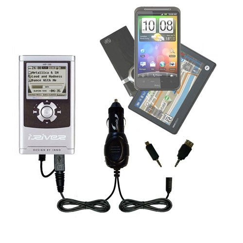 Double Port Micro Gomadic Car / Auto DC Charger suitable for the iRiver iHP-140 iHP-110 - Charges up to 2 devices simultaneously with Gomadic TipExchange Technology