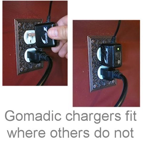 Gomadic Multi Port AC Home Wall Charger designed for the Samsung YP-R0 Digital Media Player - Uses TipExchange to charge up to two devices at once