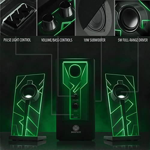 GOgroove BassPULSE 2.1 Computer Speakers with Green LED Glow Lights and Powered Subwoofer - Gaming Speaker System for Music on Desktop , Laptop , PC with 40 Watts , Heavy Bass