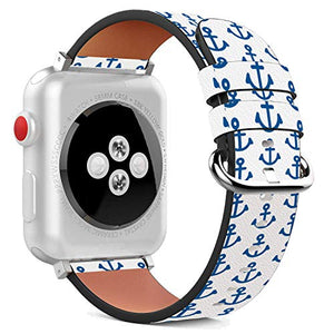 Compatible with Apple Watch - 38mm / 40mm (Serie 6/5/4/3/2/1) Leather Wristband Bracelet with Stainless Steel Clasp and Adapters - All The Anchors Down