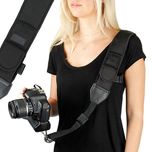 USA Gear Camera Sling Shoulder Strap with Adjustable Black Neoprene, Safety Tether, Accessory Pocket, Quick Release Buckle, Compatible with Canon, Nikon, Sony and More DSLR, Mirrorless Cameras