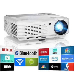 Bluetooth Projector WiFi Android 1080P LCD LED Smart Video Projectors Home Theater 4600 Lumens with Airplay HDMI USB RCA VGA AV for Smartphone DVD PS5 TV Stick Laptop Outdoor Movie