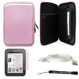 Pink Protective Carrying Case for Barnes and Noble Nook Simple Touch eBook Reader BNRV300 and White Micro USB Cable and Screen Protector and Hand Strap