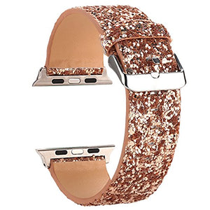 Moonooda Bling Watch Band Compatible with Apple Watch Band 38mm 40mm 42mm 44mm Cute Women Glitter Sparkle Wristband Shiney Girl Smartwatch Band Strap Compatible with Iwatch Series SE 6 5 4 3 2 1, Rose