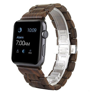 AIYIBEN Apple Watch Band 42MM, Natural Hand-Made Wooden Replacement Strap Wrist Wood Band with Adjustable Links Replacement Bracelet (Brown, 42MM)
