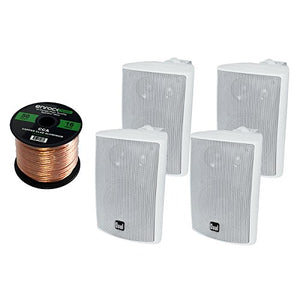 4 x New Pyle PLMR24 3.5'' 200 Watt 3-Way Weather Proof Marine Mini Box Speaker System (White), and Enrock Audio 16-Gauge 50 Foot Speaker Wire