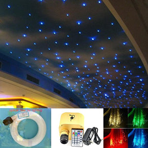 16W Twinkle Fiber Optic Light Star Ceiling Kit, RGB+White LED's Engine with RF 28 Key Remote + Crystal + Fibers 0.03in/0.75mm 0.04in/1mm 0.06in/1.5mm 9.8ft/3m 430PCS