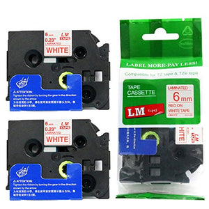 2/Pack - Premium Compatible with Brother TZe-212 Red on White 1/4 p-Touch Label Tape, 6mm Laminated replacment TZe212 Tape, TZ212 0.23